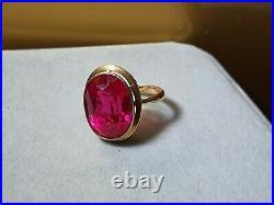 14k Soviet union Made Hallmarked Ring With Red Gem Stone Size M1/2