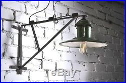40 50er Alte draußen Emaile Lampe Fabrik Hängelampe LOFT LAMP Wandlampe Green
