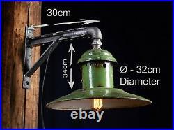 50er SPO 200 Alte Grun Emaille Wand Lampe Fabrik Wandlampe LOFT LAMP GREEN Metal