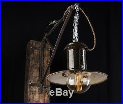 50er SPO- 200 Alte draußen Industrie Emaille Lampe Fabrik Hängelampe LOFT LAMP