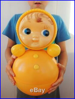 80's Huge Vintage Russian Nevalyashka Celluloid Plastic Roly Poly Toy Doll 40cm