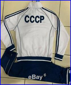 ADIDAS womens CCCP USSR vintage retro Soviet Union Olympics uniform tracksuit Wh