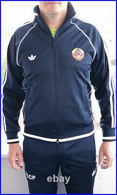 Adidas USSR CCCP vintage Soviet Union Russia track suit 80 olympics uniform Blue