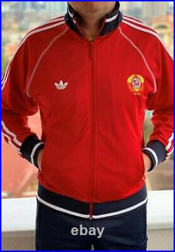 Adidas USSR CCCP vintage Soviet Union Russia track suit olympics uniform RED L