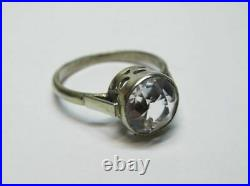 Amazing Vintage Soviet Ring Sterling Silver 875 Rock Crystal Antique USSR Size 7