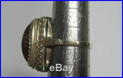 Amazing Vintage Soviet Ring Sterling Silver 875 Ruby Stone Antique USSR Size 8.5