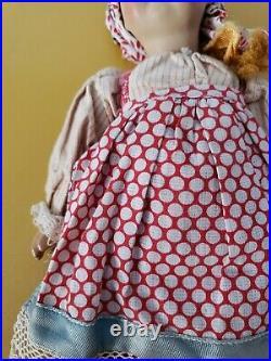 Antique 11 3/4 Russian Soviet Union Bisque-Terra Cotta Head girl DOLL -GREAT