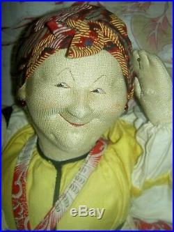 Antique, labeled8084 A VELIKORUSSKA Soviet Union stockinette Russian cloth doll