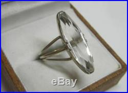 Awesome Vintage Soviet Ring Sterling Silver 875 Rock Crystal Antique USSR Size 8