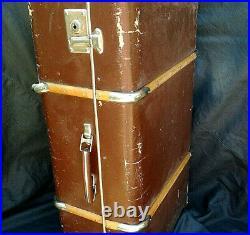 Case Train Suitcase Trunk Travel Luggage Vintage Big