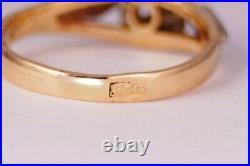 Chic Rare Vintage Soviet USSR Russian GOLD 583 14K RING YAKUTIA Diamond Size 6.5