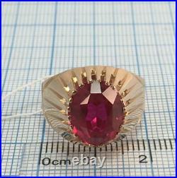 Chic Vintage Original USSR Russian Soviet Rose Gold 583 14K Ring Ruby Size 8.5