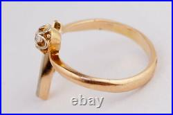 Chic Vintage Rare USSR Russian Solid GOLD RING YAKUTIA Diamond 585 14K Size 6.5