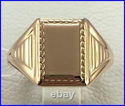 Chic Vintage Ring Men's USSR Soviet Russian Solid Rose Gold 583 14K size 8.5