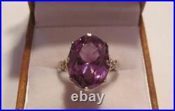 Chic Vintage Ring Sterling Silver 875 Alexandrite Stone Antique USSR Size 6.5