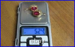Chic Vintage Soviet Earrings Sterling Silver 875 Ruby Stone Antique USSR
