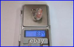 Chic Vintage Soviet Ring Sterling Silver 875 Agate Stone Antique USSR Size 9.5