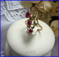 Chic Vintage USSR Russian Soviet Rose Gold Ring Ruby Enamel 583 14K Size 6.5