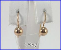 Cute Vintage Rare Original USSR Soviet Russian Solid Rose Gold 583 14K Earrings
