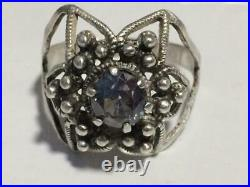 Cute Vintage Soviet USSR Antique Ring Sterling Silver 875 Alexandrite Size 9