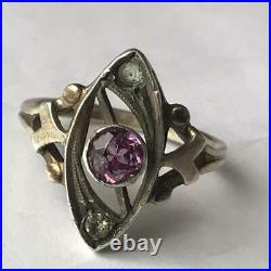 Cute Vintage Soviet USSR Russian Ring Sterling Silver 875 Alexandrite Size 7