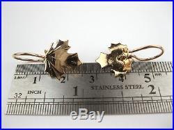 Earrings 583 GOLD 14K maple leaf Soviet Union Russia USSR Original