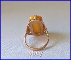Genuine Egg Yolk Amber Solid Rose Gold Ring 583 14k sz 7 Soviet Russian Vintage