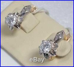 Gold Earrings Russian Soviet Union USSR Gold Jewelry Bi-Metal 14K 585 Tulip