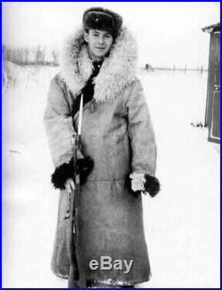 HUGE SIZE Soviet Union 1990 USSR BEKESHA ARCTIC GUARD SHEEPSKIN SHEARLING COAT