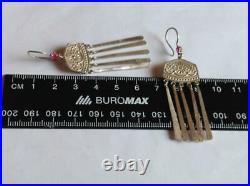 Huge Vintage Antique Soviet USSR Russian Stud Ear Earrings Sterling Silver 875