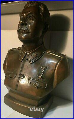 Joseph Stalin Premier of the Soviet Union USSR Bust Bronze 11.6 Original 1938