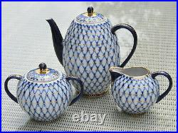 LOMONOSOV Kaffee Service Kobaltnetz 6 Pers USSR Russia
