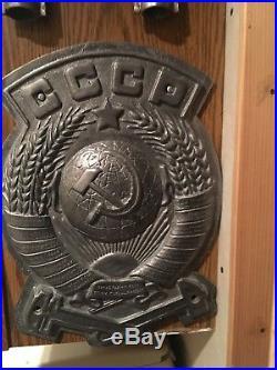 Large USSR CCCP Soviet Union Train Plaque Crest Seal