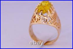 Luxury Rare Vintage USSR Russian Soviet Rose Gold Ring Corundum 583 14K Size 6.5