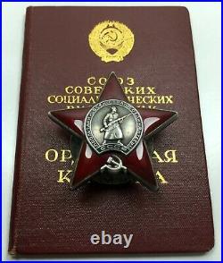 Medal Red Star silver Order enamel military award Soviet WW II USSR doc ORIGINAL