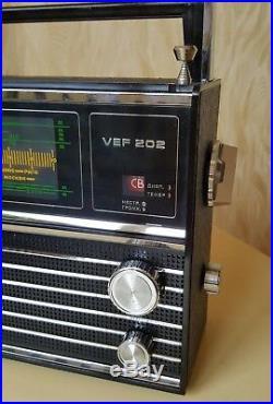 NOS VEF 202 Portable Radio LW, MW, 5 SW USSR Soviet Union Original Box Manual