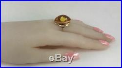 Natural AMBER Rare Vintage USSR Russian Soviet Rose Gold 583 14K Ring Size 8