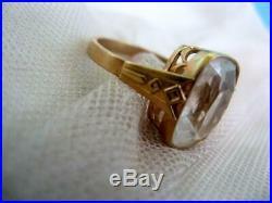 Natural Rock Crystal Vintage Soviet Antique Ring Gilt Sterling Silver 875 USSR