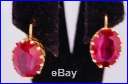 Nice Original Vintage USSR Soviet Russian Solid Rose Gold 583 14K Earrings Ruby