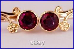 Original Vintage USSR Soviet Russian Solid Rose Gold 583 14K Earrings Ruby 2.85g