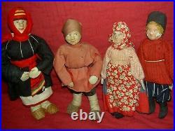 PAIR 1920s labeled, TANKA & VANKA, stockinette Russian Soviet Union cloth dolls