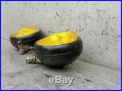 Pair Vintage USSR Fog Lights Amber Lens Lamps Hot Rod Rat Truck 6 in