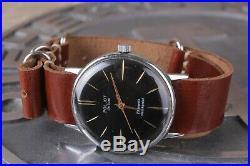 Poljot De Luxe, ultra slim mechanical watch with handmade leather strap