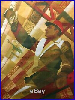 RARE Vintage Russian Propaganda Poster- USSR Soviet Union Construction Worker