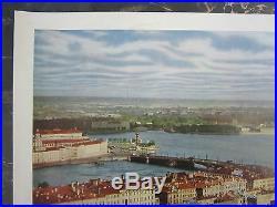 RARE Vtg VISIT THE USSR Soviet Union Travel Poster Panorama LENINGRAD