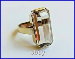 Rare Big Vintage Ring Natural Rock Crystal Gilt Sterling SILVER 875 USSR Soviet