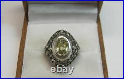 Rare Vintage Soviet Ring Sterling Silver 875 Citrine Stone Antique USSR Size 7