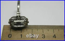 Rare Vintage Soviet Ring Sterling Silver 875 Rock Crystal Antique USSR Size 9.5