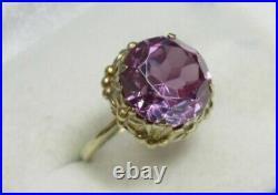 Rare Vintage Soviet USSR Antique Ring Sterling Silver 875 Alexandrite Size 5.5