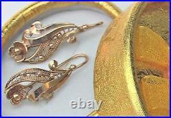 Rare Vintage USSR Soviet Russian Solid Rose Gold 583 14K Earrings Women Jewelry